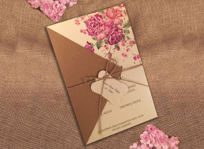 Свадебные пригласительные с крафтовой бумагой (АРТ. 41416)