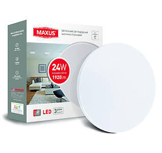 Светильник потолочный светодиодный  MAXUS тонкий 4100K 24W Круг