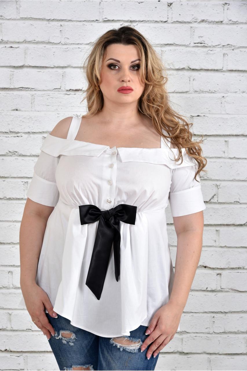 Белая блузка 0331-1 большой размер