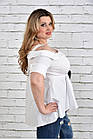 Белая блузка 0331-1 большой размер, фото 3