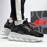 Женские кроссовки Versace Chain Reaction Sneakers Black. Живое фото (Реплика ААА+)