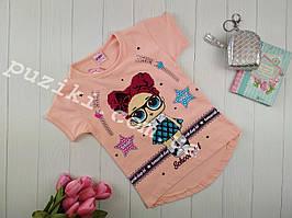 Летняя футболка кукла LOL с двусторонними пайетками для девочки 3-8 лет