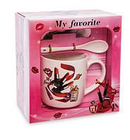 Чашка фарфоровая Мода и стиль 300 мл в подарочной коробке MUG-211/3