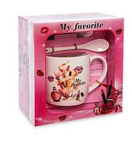 Чашка фарфоровая Мода и стиль 300 мл в подарочной коробке MUG-211/4. Подарки на 14 февраля