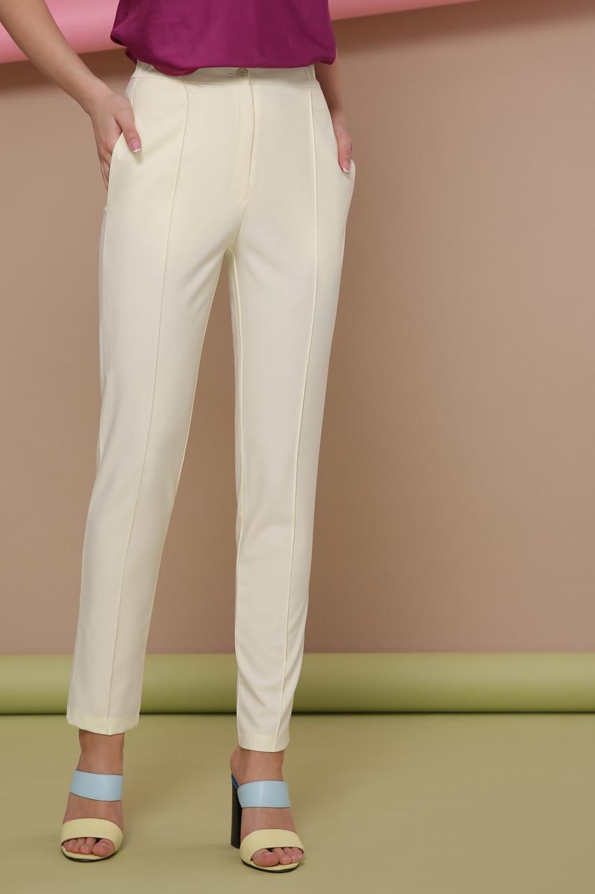 Женские брюки со стрелками на резинке желтые