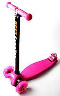 Детский самокат MAXI, светящиеся колеса, розовый, фото 1