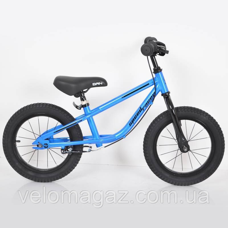 "Детский беговел с ручным тормозом 14""(BRN)B-2 Blue Air wheels"
