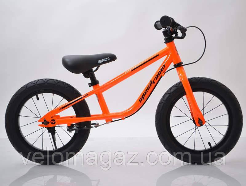 "Детский беговел с ручным тормозом 14""(BRN)B-2 Orange Air wheels"