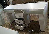 Маникюрный стол  для 2х мастеров с розетками и выдвижными ящиками. Модель V334 белый, фото 1