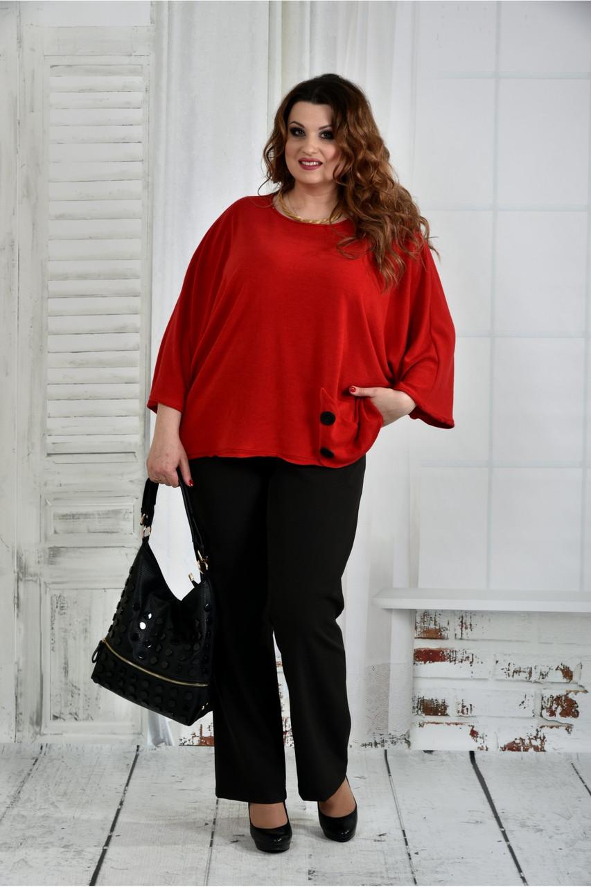 Красная блуза 0412-2 большой размер