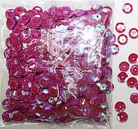 Пайетки круглые. Цвет - розовый темный с голограммой (тиснение), Ø - 6 мм, уп/20 грамм. №83, фото 1