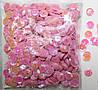 Пайетки круглые. Цвет - розовый с голограммой (тиснение), Ø - 6 мм, уп/15 грамм. №84