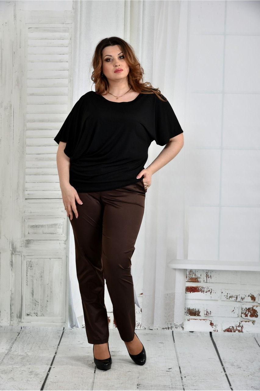 Черная блузка женская трикотажная большого размера 42-74. 0429-1