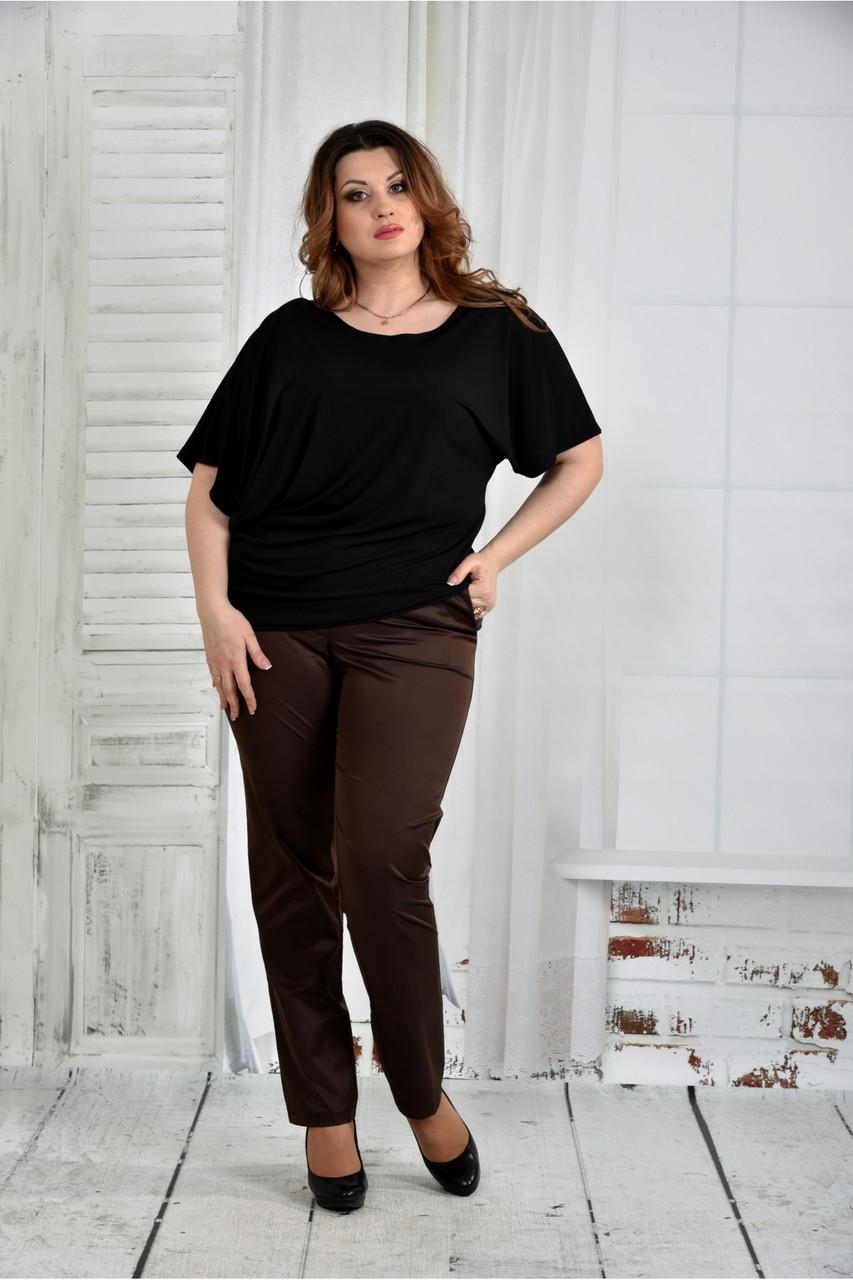 Чорна блузка жіноча трикотажна великого розміру 42-74. 0429-1