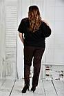 Черная блузка женская трикотажная большого размера 42-74. 0429-1, фото 4