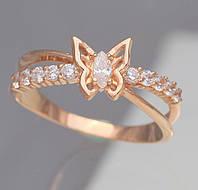 Золотое кольцо бабочка с фианитами. ГП20936