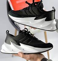 Женские кроссовки Adidas Shark black white. Живое фото. Реплика
