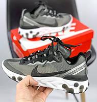 Мужские кроссовки Nike React Element 87 x Undercover Gray Black White. Живое фото. Топ реплика ААА+