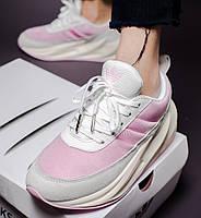 Женские кроссовки Adidas Shark white pink. Живое фото. Реплика