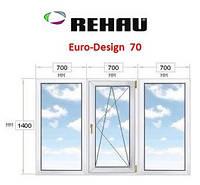 Окно ПВХ из 3-х частей, 2100 х 1400, Rehau - 70.