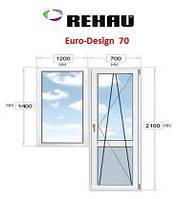 Балконный блок: дверь 700х2100, окно 1200х1400, Rehau - 70.