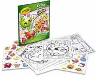 Книга-раскраска с наклейками Шопкинс  (32 страницы, 50 наклеек), Crayola Shopkins