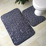 Набір з 2-х плюшевих килимків «Галька» 50×80 см, сірий, фото 7