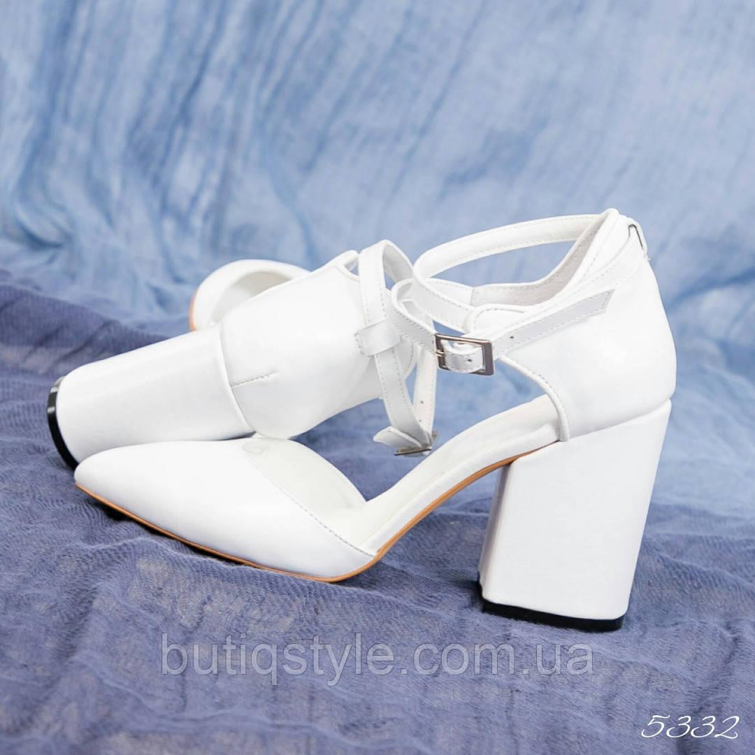 40 размер Женские открытые белые туфли на каблуке натуральная кожа