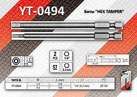 """Биты """"HEX TAMPER"""" 1/4"""", 3х100мм, 5х100мм, YATO YT-0494"""