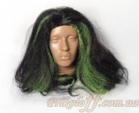 """Парик """"Кикимора"""", черный с зелеными прядями"""
