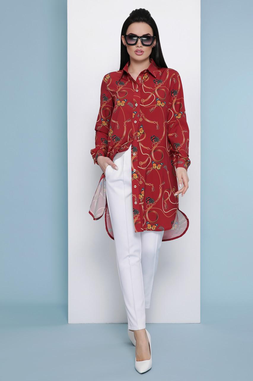 Женское платье-рубашка бордовое Ремешки-бабочки Аврора П д/р