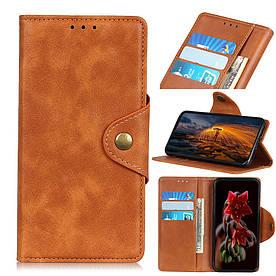 Чехол книжка для Samsung Galaxy A70 A705FD боковой с отсеком для визиток, Classic style, коричневый