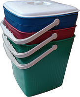 """Ведро для мусора пластиковое ребристое с крышкой 12 литров цветное """"ХАРПЛАСТМАСС"""", фото 1"""