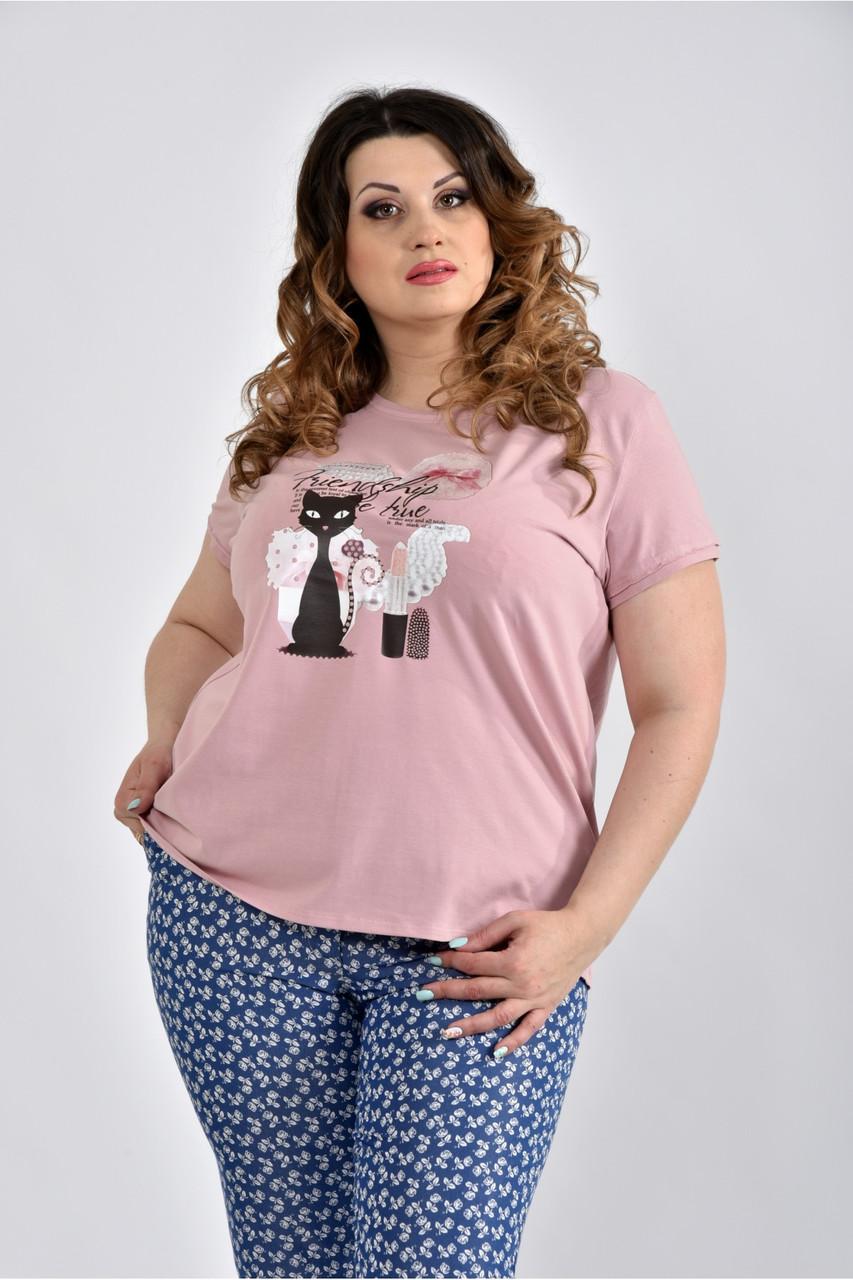 Світла футболка з кішечкою 0536-3 великий розмір