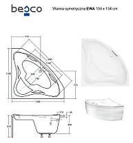 Угловая ванна EVA 134х134 Besco PMD Piramida , фото 3