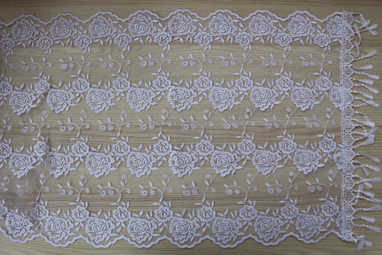 Шарф білий фатиновий ажурний святковий 150-8