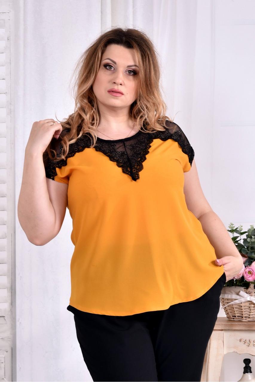 Легка шифонова блузка жовтого кольору 0543-1 великий розмір