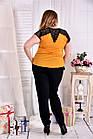 Легка шифонова блузка жовтого кольору 0543-1 великий розмір, фото 4