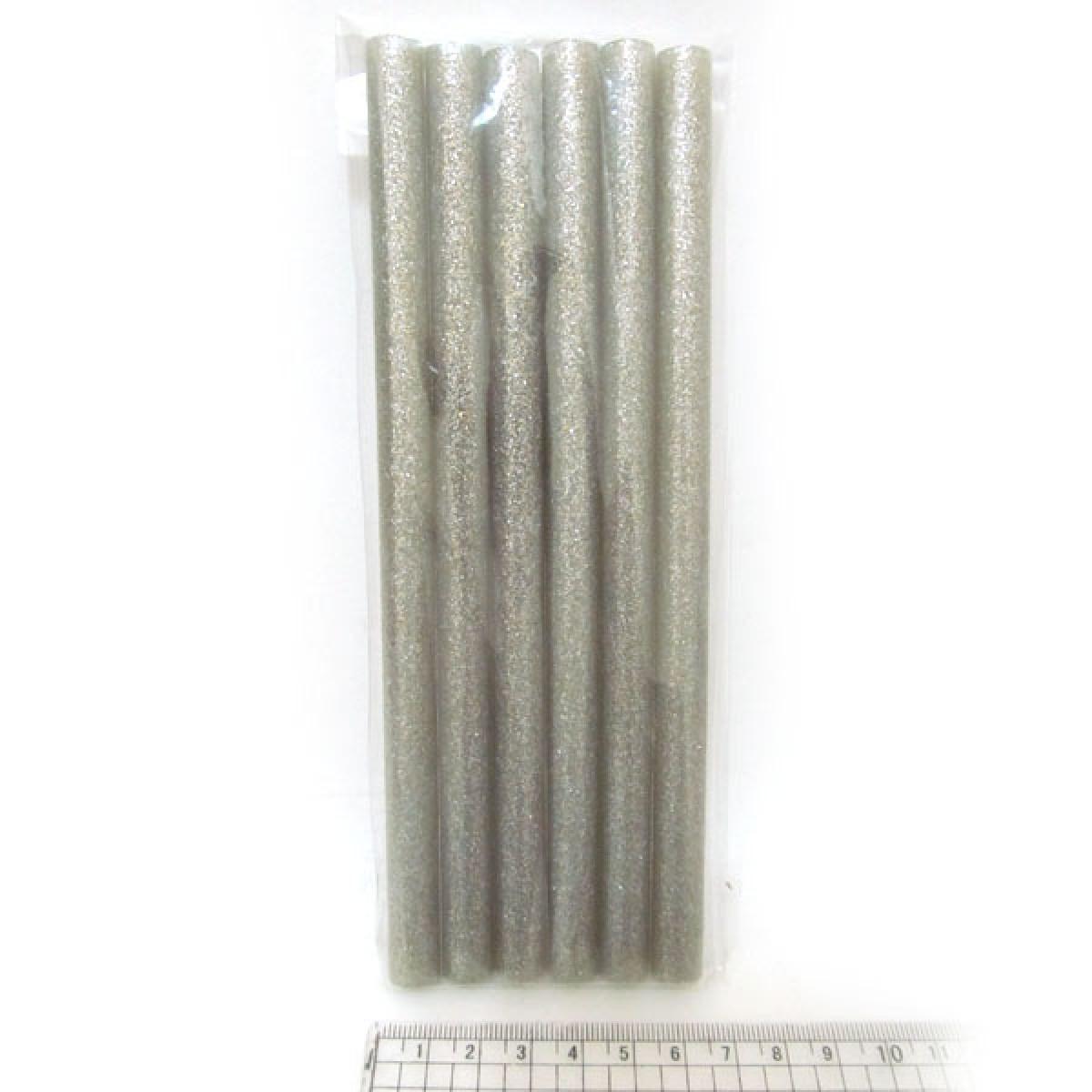 """Клей кольоровий для термопістолети """"JO"""" з глітером 0250-S d=1,1 см L=18см срібло"""