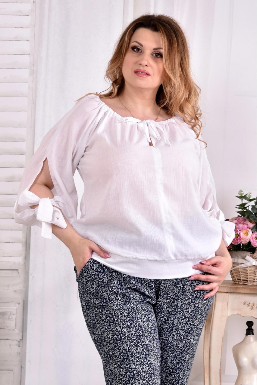 Белая блузка 0546-1 большой размер