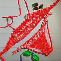 Модный детский купальник с рюшами в горошек, красный, фото 1