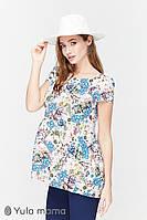 Блузка для беременных и кормления REMY BL-29.042, голубые цветы, фото 1