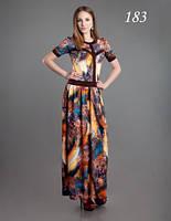 Платье летнее длинное в пол большого размера, платье облегающее, платье красивое цветное молодежное
