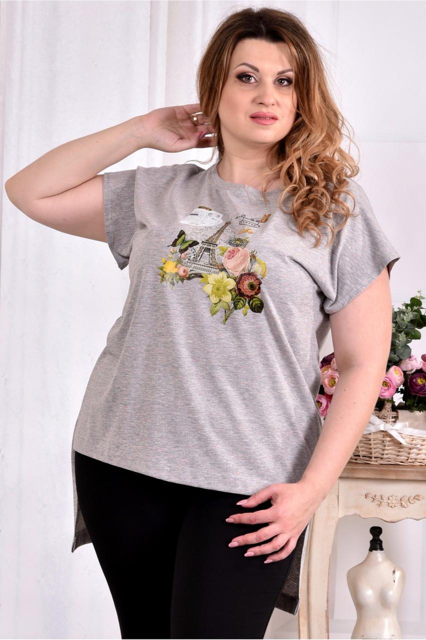Сіра стрейчева футболка 0561-3 (турецький трикотаж) великий розмір