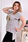 Сіра стрейчева футболка 0561-3 (турецький трикотаж) великий розмір, фото 2
