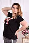 Черная футболка с надписью 0562-1 (турецкий трикотаж), фото 2
