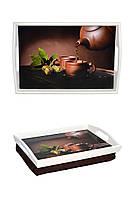 Поднос  подушка с ручками BST 48*33 бело-коричневый  Чайная церемония