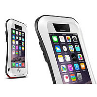 Чехол противоударный Love Mei Gorilla Glass для Apple iPhone 6 6S Plus белый