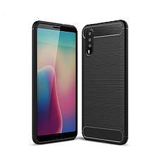 Чехол накладка силиконовый SK Fiber Carbon для Huawei P20 черный