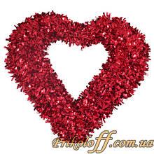 Серце підвісне настінне, фольга12х42х44см